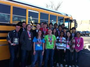 The Union High School State Champion Science Olympiad Team with Coach Mike Carpenter